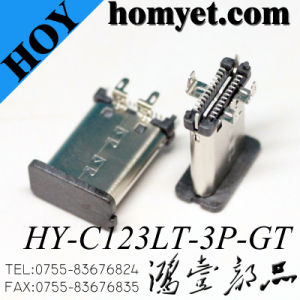 SMT Type 3pin Solder 3.1 USB Vertical C Type Receptacle Connector pictures & photos