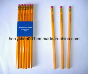 Hb No. 2 Yellow Oil Paint Wood Pencil with Eraser Tip, Sky-012 pictures & photos