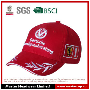 Red 100% Cotton Sandwich Brim Racing Baseball Cap with Flat Embroidery Logo