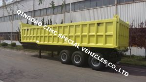 Cimc 40cbm Dump Tipper Container Trailer with 3 Axle Truck Chassis pictures & photos