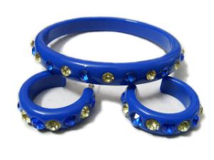 Rhinestone Resin Bangle & Earring