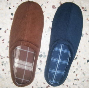 Memory Foam Slipper With Checked Printing Cotton Lining