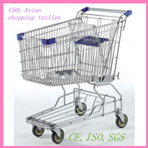 150L Asian Style Steel Grocery Shopping Trolley