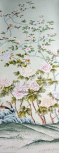 Hand-Painted Silk And Pvc Wallpaper