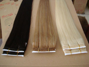 Hot Sale Double Drawn Thick Super Star Remy Hair Weft Extension pictures & photos