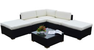 Rattan Outdoor Garden Furniture Corner Sofa Set in Black 6PCS