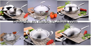 18/10 Stainless Steel Cookware Chinese Wok Cooking (SX-WO32-18) pictures & photos