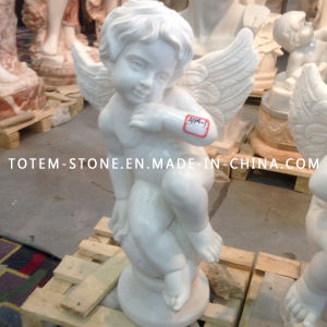 Marble Carved Psyche and Cupid Angel Stone Statue for Garden pictures & photos