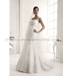 A-Line Lace Overlay Wedding Dress (JM-1021)