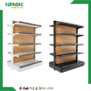 Supermarket Gondola with Wooden Shelves pictures & photos
