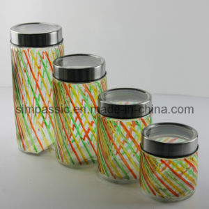 4PCS Hand Drawing Storage Jar with Metal&Glass Lid (SG1410SJ) pictures & photos