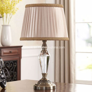 Table Lamp with Fabric Shade, Crystal / Metal Base pictures & photos