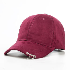 Custom 2017 Fashionable Winter Unisex Solid Ring Safety Pin Curved Hats Baseball Cap Men Women Suede Snapback Caps Casquette Gorras pictures & photos