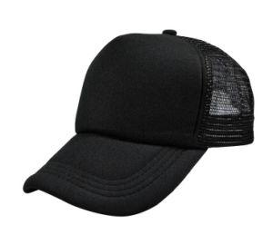Wholesale Plain Black Cotton and Mesh Stock Trucker Cap pictures & photos