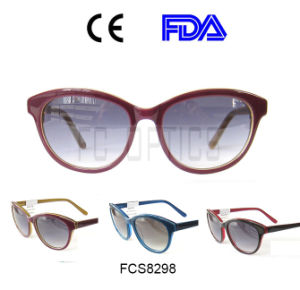 Lady Cat Eye Handmade Oval Sunglasses Suitable for Triangular Face pictures & photos