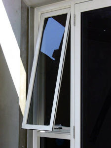 PVC/UPVC Frame Double Glazed Tempered Glass Top Hung Window
