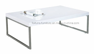 Modern Wooden UV High Gloss White Coffee Table with Metal Feet ID-Centro 2