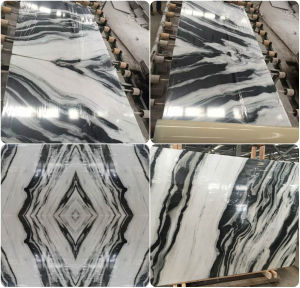 Onyx White Marble Tiles and Slab with Black Vein