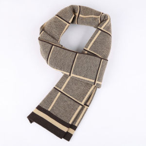Men′s Fashion Checked Pattern Winter Warm Woven Scarf (YKY4614) pictures & photos