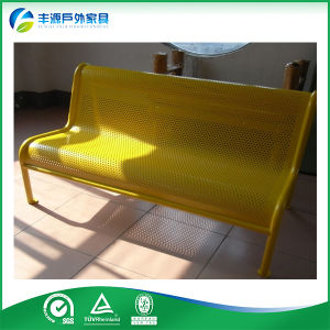 Powder Coated Steel and Perforated Metal Yellow Color Bench, Furniture