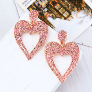 New Elegant Inlaid Rhinestone Lovely Heart-Shaped Alloy Women′s Earrings pictures & photos