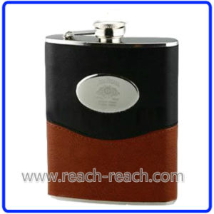 9oz Stainless Steel Hip Flask with Leather (R-HF014) pictures & photos