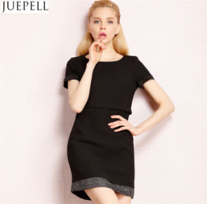 Autumn Popular High-End European and American Fashion Brand Splicing Skirt Two Straight Women Dress pictures & photos