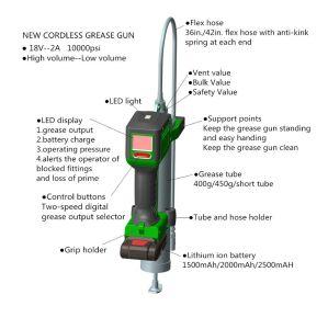 18V High Volume Cordless/Accu/Akku Battery Grease Gun, Lubricate Tool