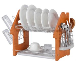 2 Layers Metal Wire Kitchen Dish Rack with Wooden Board H Shape pictures & photos