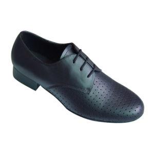 Black Leather Men′s Standard Dance Shoes pictures & photos