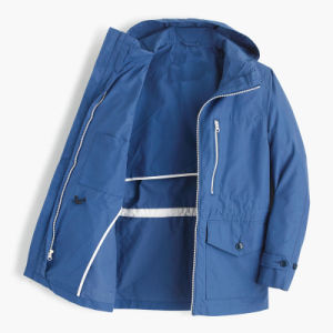 Cotton-Nylon Men Hooded Water-Resistant Jacket pictures & photos