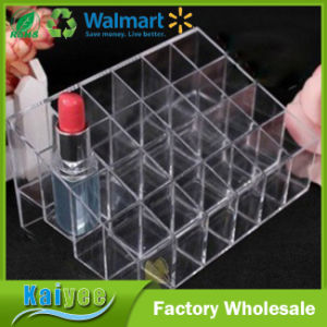 24 Stand Transparent Plastic Trapezoid Makeup Display Stand Cosmetic Lipstick Organizer pictures & photos