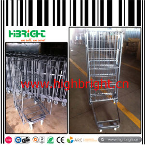 Foldable Metal Wire Mesh Nestable and Foldable Rolling Pallet Cage pictures & photos