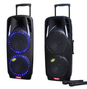 Double 10inch Portable PA System with Rechargeable Battery & Dual Wireless VHF Microphones / Bluetooth Connectivity F73 pictures & photos