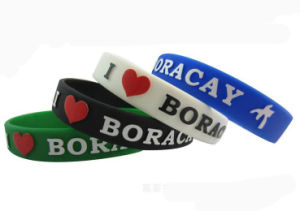 Fashion Custom Logo Debossed Ink Filled Silicone Rubber Bracelets pictures & photos