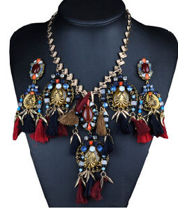 Bird Design Tassel Alloy Necklace (XJW13704) pictures & photos