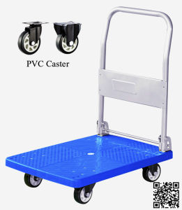 150kg Blue Platform Hand Truck Foldable Trolley with PVC Wheels pictures & photos