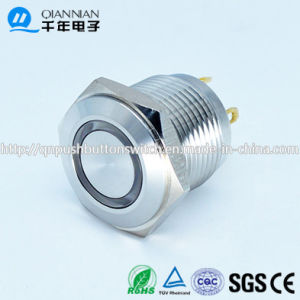 Qn16-D4 16mm Momentary Flat Head Mini LED Ring Metal Push Button Reset Switch pictures & photos