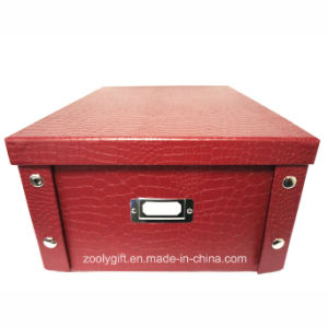 Multipurpose Crocodile Special Paper Cardboard Foldable Storage Box with Metal Button pictures & photos