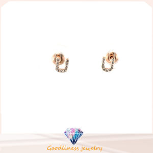 Letter Shape 2015 Top Sale Gold Letter U Stud Earrings Rhodium Plated Vintage Fashion Jewelry for Women E6374 pictures & photos