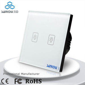 2016 Manufacturer EU Standard Touch Switch Two Gang One Way 110V240V White Glass Switch Plate Electrical Light Wall Switch for Smart Home System1