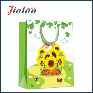 128GSM Glossy Laminated Coated Paper Sunflowers Shopping Gift Paper Bag pictures & photos