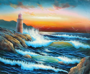 Blue Seascape Fabulous Sunrise Landscape Oil Painting (LH-334000) pictures & photos