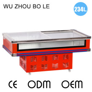 Sliding Glass Door Front Clear Seafood Display Freezer for Supermarket
