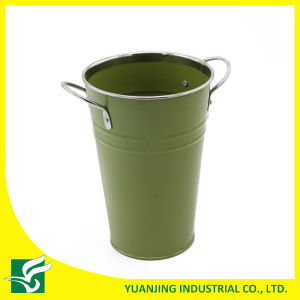 Home Decoration Metal Zinc Pot with Metal Handle