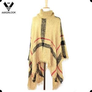 Fashion Loop Yarn Plaid Knit Shawl Large Size Poncho pictures & photos