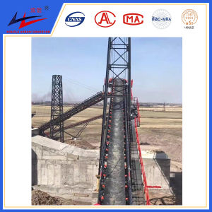 Double Arrow DJ Large Angle Belt Conveyor with Side Wall Belt for Salt Transport pictures & photos