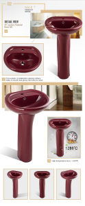 China Supplier Bathroom Vanity, Floor Stand Ceramic Pedestal Basin Red pictures & photos