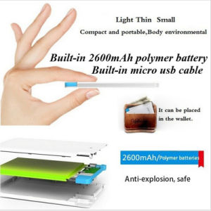 2600mAh Powerbank Mini Card Mobile Power Bank Portable Battery Charger pictures & photos