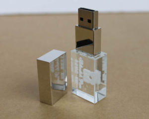 Electronics New Custom Glass USB Drive White Light USB 3D Logo 8GB Pendrive pictures & photos